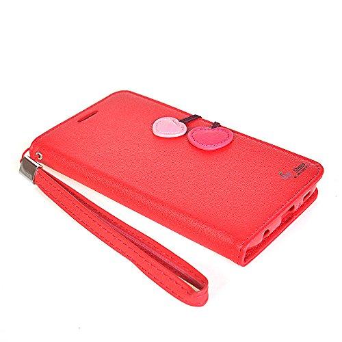 Galaxy S6 edge Fundas,COOLKE [Aqua] PU Cuero Con Soporte Plegable y Ranura para tarjeta Cartera Carcasa Funda Tapa Case Cover para Samsung Galaxy S6 edge SM-G9250 Rojo