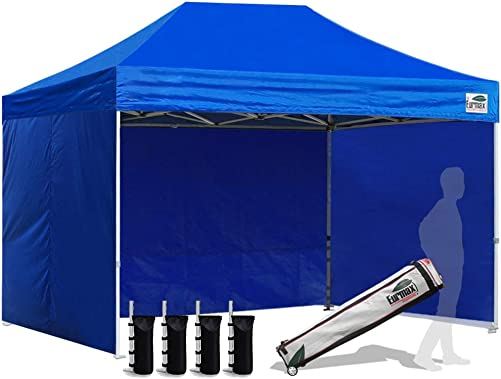 Eurmax 8×12 Ez Pop up 4 Wall Canopy Instant Outdoor Party Tent Shade Gazebo 4 Sidew Walls and Roller Bag
