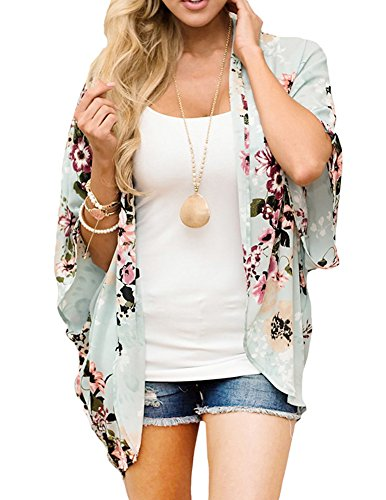 Women Floral Kimono Loose Half Sleeve Shawl Chiffon Casual Cardigan Green M