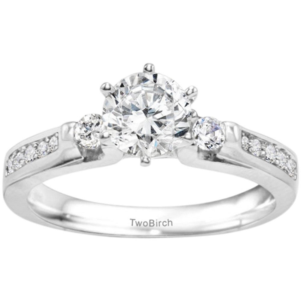 .77CT C&C Moissanite Traditional Three Stone Promise Ring in Silver(Size 3 to 15, in 1/4 Sizes)