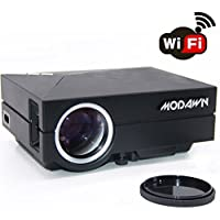 Modawn 1080P Wifi Display 1200 Lumens Movie Projector UNIC Home Cinema Theater WIFI LED Portable Projector for Party Home Entertainment Video Games TV Movie DVD PC Laptop with USB/AV/SD/VGA/HDMI Input