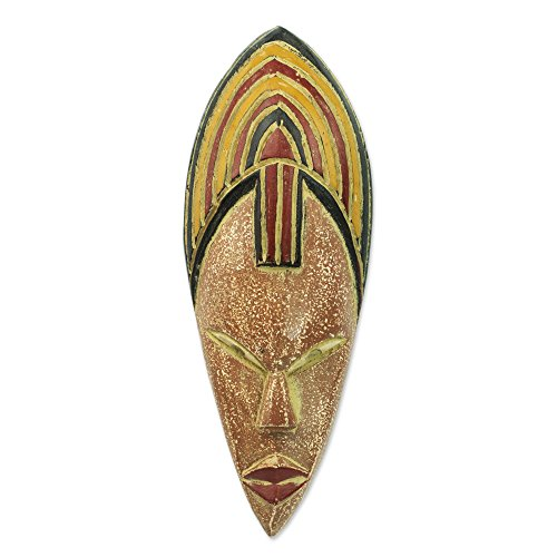 Ceramic Wall Mask (NOVICA Decorative Ghanaian Large Ceramic and Sese Wood Mask, Multicolor, 'Joyfulness Is A Crown')