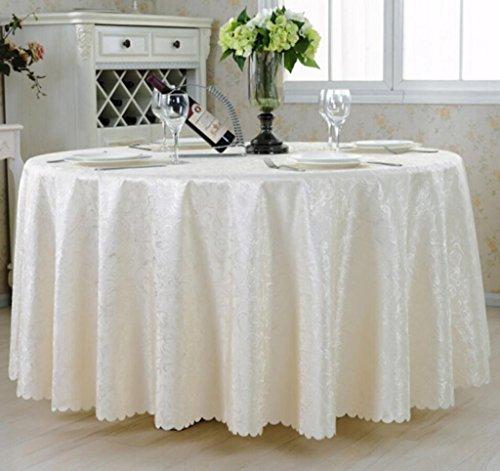 Blanc Round 340cm nappe de table Mode Hôtel nappe grande table ronde ronde salon nappe tissu européen table tissu Jacquard restaurant nappe ronde (Couleur   Blanc, taille   Round 340cm)