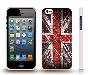iStar Cases? iPhone 5/5S Case with U.K. Flag Union Jack Grunge Look Design , Snap-on Cover, Hard Carrying Case (White)