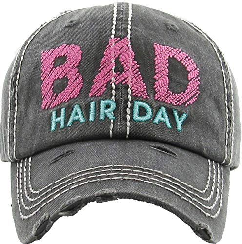 H-212-BHD-0624 Distressed Patch Hat: Bad Hair Day, Black/Pink (Best Hats For Short Hair)