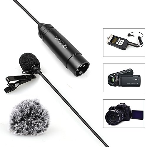MAONO XL-10 XLR Omnidirectional Lavalier Microphone for ZOOM, Camcorders with Tie Clip and Windscreens (Foam and Furry) by MAONO