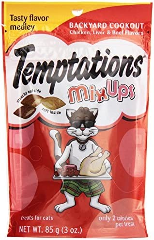 Temptations Cat Treats Mix Ups, Backyard Cookout Chicken, Liver and Beef Flavor, 3 Oz Pouch