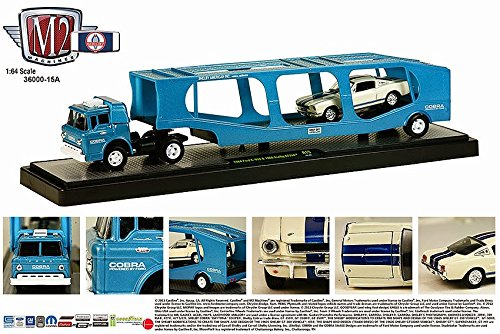 1964 FORD C-950 (BLUE) & 1966 SHELBY GT350 (WHITE) Auto-Haulers Release 15 M2 Machines 2015 Castline Premium Edition 1:64 Scale Die-Cast Vehicle Truck & Set (R15 15-02) (1964 Ford Pickup)