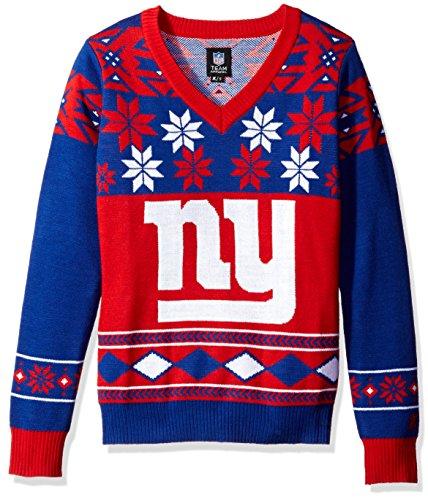 NFL Women's V-Neck Sweater, New York Giants, Medium