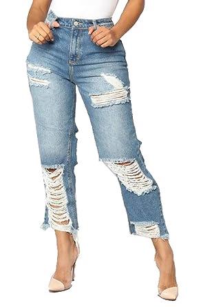 d5a27253a26 YYG Womens Slim Stylish Straight Leg Ripped Ripped Jeans Denim Pants Light  Blue XS