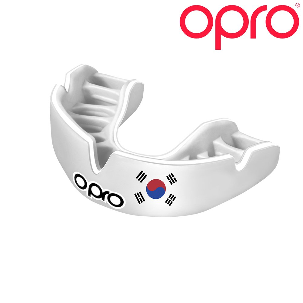 OPRO Power-Fit Countries Mouthguard | Adult Handmade Gum Shield for Football, Rugby, Hockey, Wrestling, and Other Combat and Contact Sports - 18 Month Dental Warranty (Ages 10+) (South Korea)