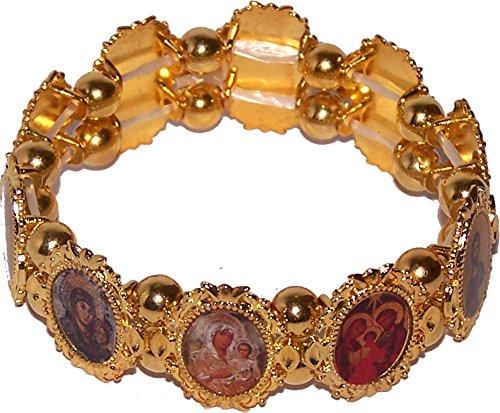 Bracelet chaplet - Elastic. One size fits all - Saints beads Rectangular Wood Beads