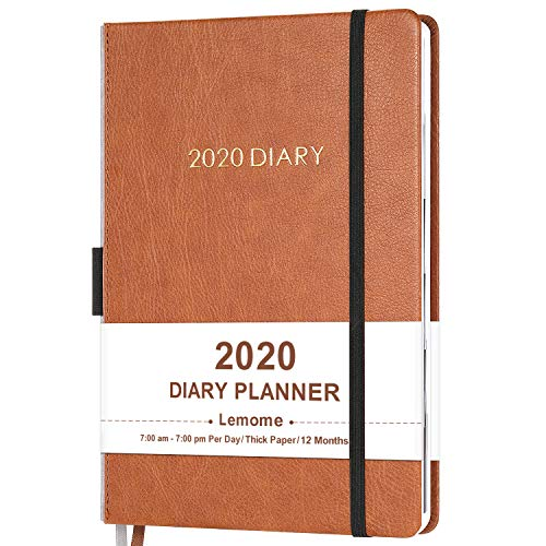 "2020 Diary Planner/Appointment Book 2020 - Diary 5-3/4"" x 8-1/4"" Daily Planner with Monthly Tabs, Gift Box/Inner Pocket/Pen Loop/Banded/Bookmarks"