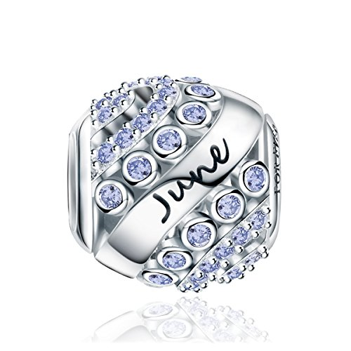 FOREVER QUEEN June Birthstone Charms for Pandora Charms Bracelet- 925 Sterling Silver Bead Openwork Charms, Happy Birthday Charms for Bracelet and Necklace ()