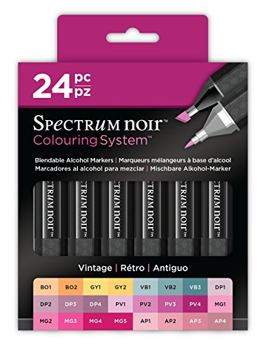 Spectrum Noir SPECN-SN24-VIN Colouring System Alcohol Marker Dual Nib Pens Box Set-Vintage-Pack of ()