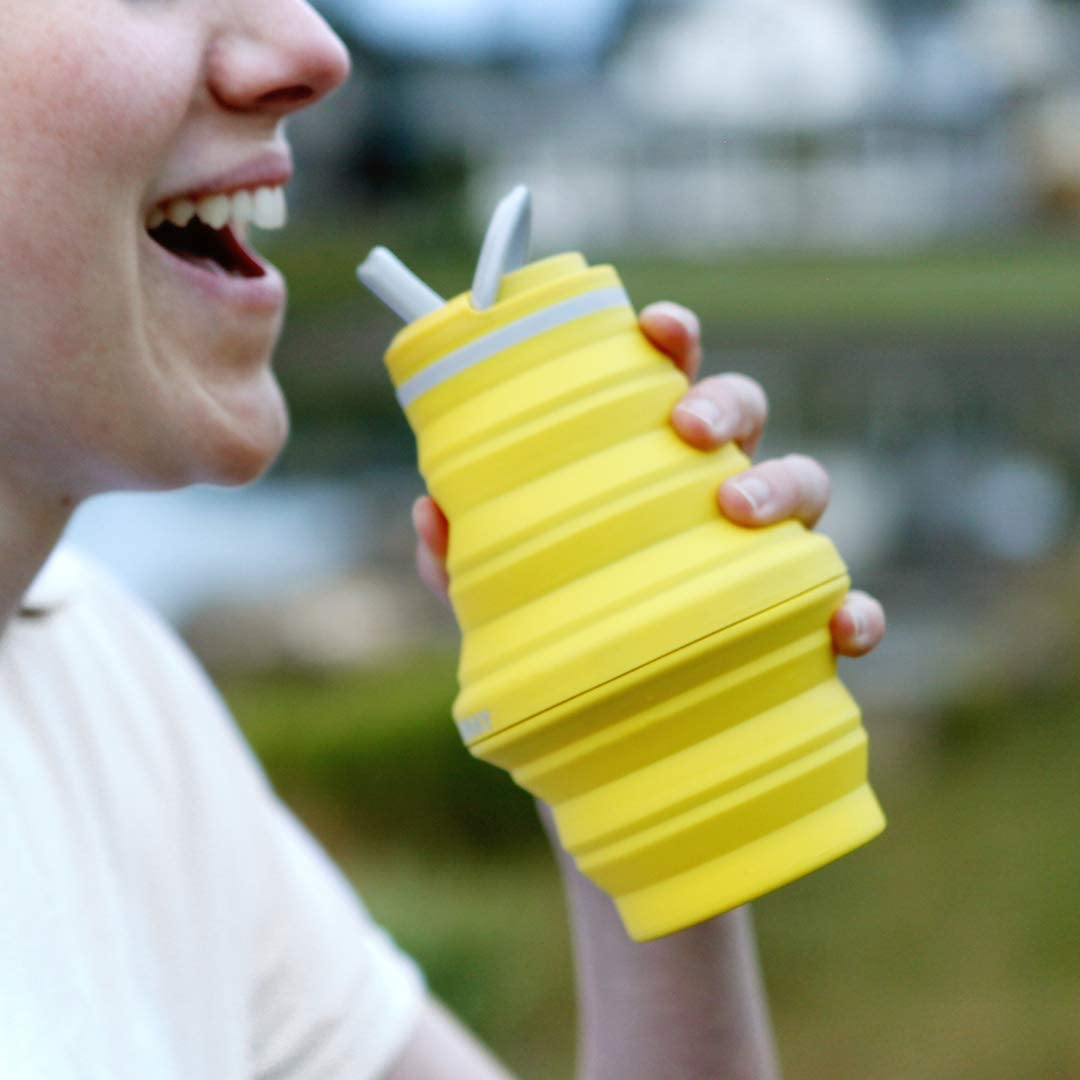 Travel-Friendly Food-Grade Silicone Ultra-Packable HYDAWAY Collapsible Water Bottle 17 oz Spout Lid
