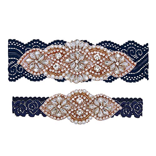 Yanstar Wedding Bridal Garter Belt Navy Stretch Lace Bridal Garter Sets With Rose Gold Rhinestones For Wedding]()