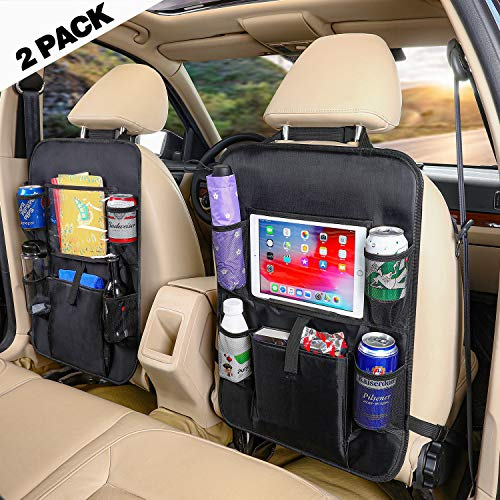 Back Seat Entertainment Organizer - Car Backseat Organizer with Touch Screen Tablet Holder +Storage Pockets Kick Mats Car Seat Back Protectors Great Travel Accessories for Kids and Toddlers(2 Pack)