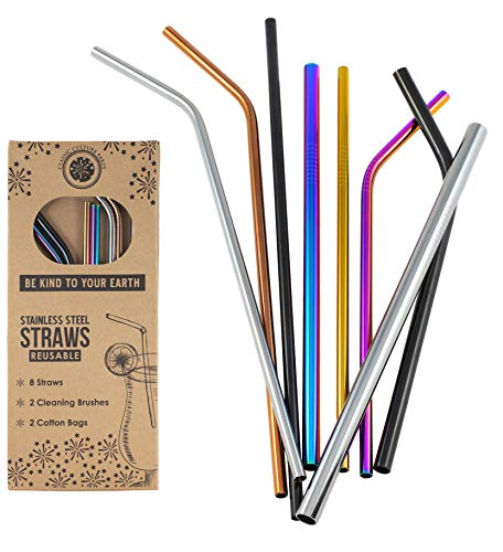 (Classic Culture Party 8 Reusable Stainless Steel Drinking Straws - Colorful Variety Set of Metal Straws to fit your 20 oz 30 oz Yeti Tumbler & More; 2 Cleaning Brushes, 2 Carry Bags; Earth Friendly)