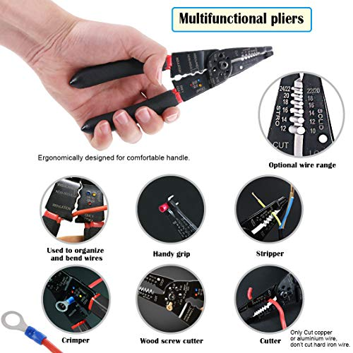 Glarks 3Pcs Automotive Wiring Harness Terminals Plug Crimping Tool DR-1 Crimper Plier Tool with Wire Stripper and Cutter for Molex Style Delphi Amy Tyco Terminals Crimper Open Barrel 24-14 AWG