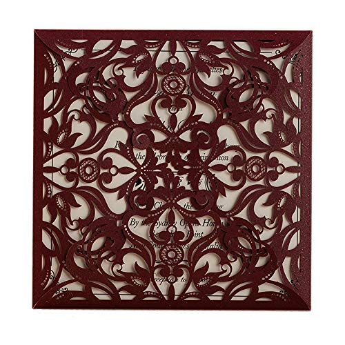 50 WISHMADE Burgundy Square Laser Cut Printable Wedding Invitation Kits with Envelope, Blank Birthday Invites for Engagement Bridal Shower Baby Shower Dinner Party AW8502