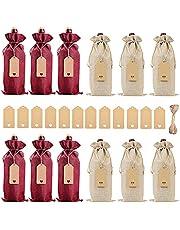 BESTZY Vinväska med dragsko, 12 stycken jute vinpåsar återanvändbara vinflaskor presentpåsar med dragsko, rep och etiketter presentpåsar till jul, bröllop, födelsedag