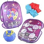 Collapsible Portable Cornhole Game,Portable Safe Throwing Game Set,FoldingSandbagBoard with 10sandbags,4Ye