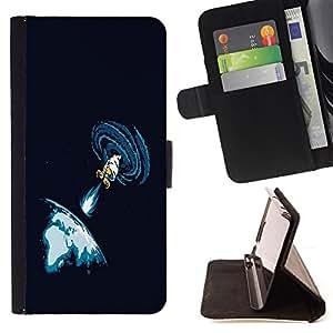BullDog Case - FOR/Apple Iphone 6 / - / Space Blast /- Monedero de cuero de la PU Llevar cubierta de la caja con el ID Credit Card Slots Flip funda de cuer