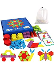 iLink Tangram Geometriska former för barn Träpussel - Montessori-leksakspussel med 155 geometriska former och 24 designkort Lämpliga för 3 4 5 6 7-åriga barn Pedagogisk leksak med