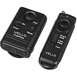 Vello FreeWave Wireless Remote Shutter Release (Canon Sub-Mini Connection) - Canon EOS: Elan series, Digital Rebel (300D), XT (350D), XTi (400D), XSi (450D), T1i (500D), T2i (550D), T3 (1100D), T3i (600D), T4i (650D), T5 (1200D), T5i (700D), SL1 (100D) an