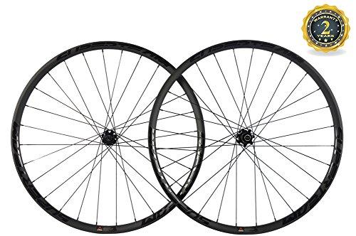 Superteam Carbon MTB Disc Brake Wheelset 29er Tubeless Wheel 30mm Width with Six Bolt Hub (Black Decal, Thru-Axle Type Front 15×100mm Rear 12×142mm)