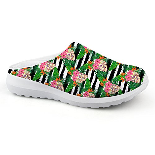 Bigcardesigns Sandals Slip-ons Outdoor Female Lightweight Punk Skull Print Loafers Skull6