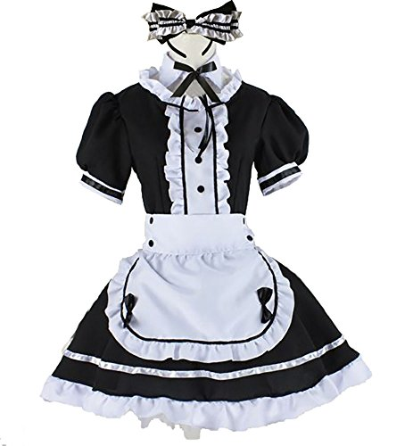 [Womens Maid Cosplay Plus Size Costume Dress French Lolita (1X) Gothic Lolita] (Comic Con Costumes For Females)