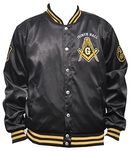 Prince Black Jacket - Big Boy Headgear Masons Prince Hall Mens Satin Jacket 4XL Black/Gold