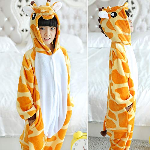 JEWH Unicorn Costume for Girls | Children's Animal Pajamas Winter Warm Girl boy Kids Pajama Cartoon Unicorn Stitch Panda Cosplay Onesie Hooded Cute Sleepwear( Giraffe - 4T) -