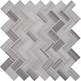 M S International Bergamo Herringbone 11.63 In. X 10 mm Polished Marble Mesh-Mounted Mosaic Floor & Wall Tile, (9.4 sq. ft., 10 pieces per case)