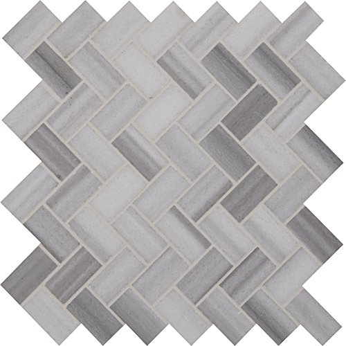 M S International Bergamo Herringbone 11.63 In. X 10 mm Polished Marble Mesh-Mounted Mosaic Floor & Wall Tile, (9.4 sq. ft., 10 pieces per case) by MS International