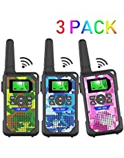 Walkie Talkie Kids,3 Miles Long Range Walkie Talkie Toys with 8 Channels, 2 Way Radios, LED Flashlight, Gifts for Boys & Girls to Play with Family and Friends (3pack-Camo Green & Blue & Pink)
