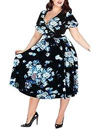 Women's V-Neckline Stretchy Casual Midi Plus Size Bridesmaid Dress