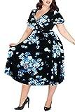 Nemidor Women's V-Neckline Stretchy Midi Plus Size Casual Dress (20W, White-Print)