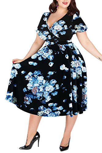 Nemidor Women's V-Neckline Stretchy Midi Plus Size Casual Dress (26W, White-Print)