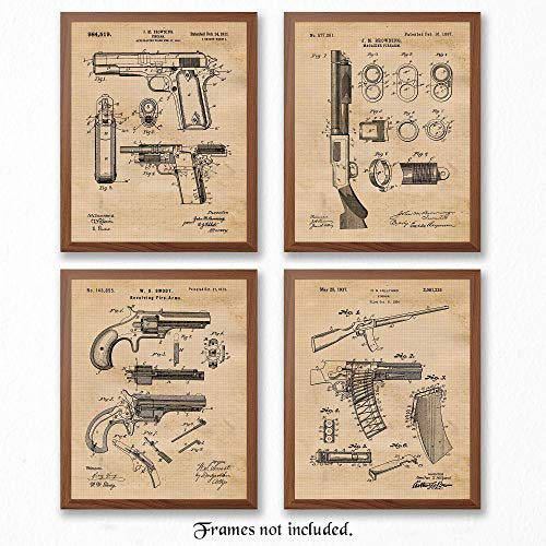 Original Remington Guns Patent Art Poster Prints - Set of 4 (Four) Photos - 8x10 Unframed - Great Wall Art Decor Blueprints Gifts for Firearm Collectors, Man Cave, Garage, Big Boy's Room