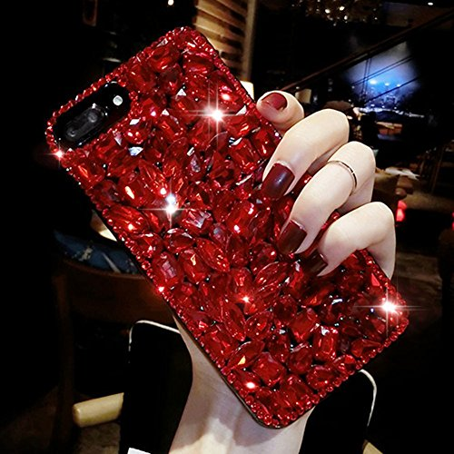 For iPhone 6 6S Cute Sparkle Jewels Case,Aearl TPU Soft Luxury 3D Handmade Stunning Stones Crystal Rhinestone Bling Full Diamond Glitter Shinning Cover with Screen Protector for iPhone 6S 6 - Red ()