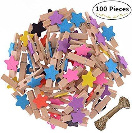 magnolora Mini星型色付き100個木製Clothespins写真用紙ペグピンクラフトクリップバンドルfor Scrapbooking木製工芸品クリスマスウェディング装飾with 66フィートジュートTwine B0773LYK76