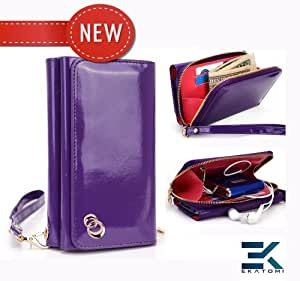 PU Leather Women's Wallet Wristlet Clutch Universal Phone Bag compatible with LG Optimus Slider Case - GLOSSY PURPLE