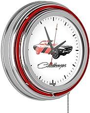 Trademark Gameroom Challenger Stripe 2 Dodge Chrome Double Rung Neon Clock