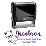 Purple Ink, Really Cute Cat, Personalized Custom Self Inking Return Mail Address Stamp. Sophisticated Gift for Business, Real Estate Clients, Teachers and Family, Newlyweds or for Wedding Invitations