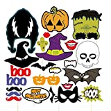 Pixnor 24pcs HAPPY HALLOWEEN Photo Booth Props Skull Witch Hat Pumpkin Bat Butterfly Fancy Party Decor Supply