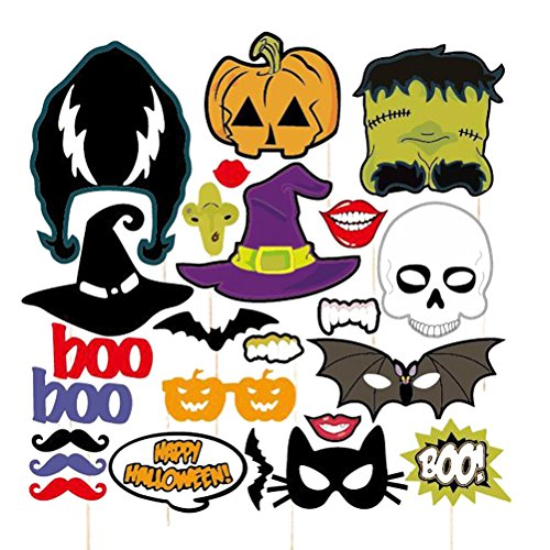 Pixnor 24pcs HAPPY HALLOWEEN Photo Booth Props Skull Witch Hat Pumpkin Bat Butterfly Fancy Party Decor Supply Bat Witch