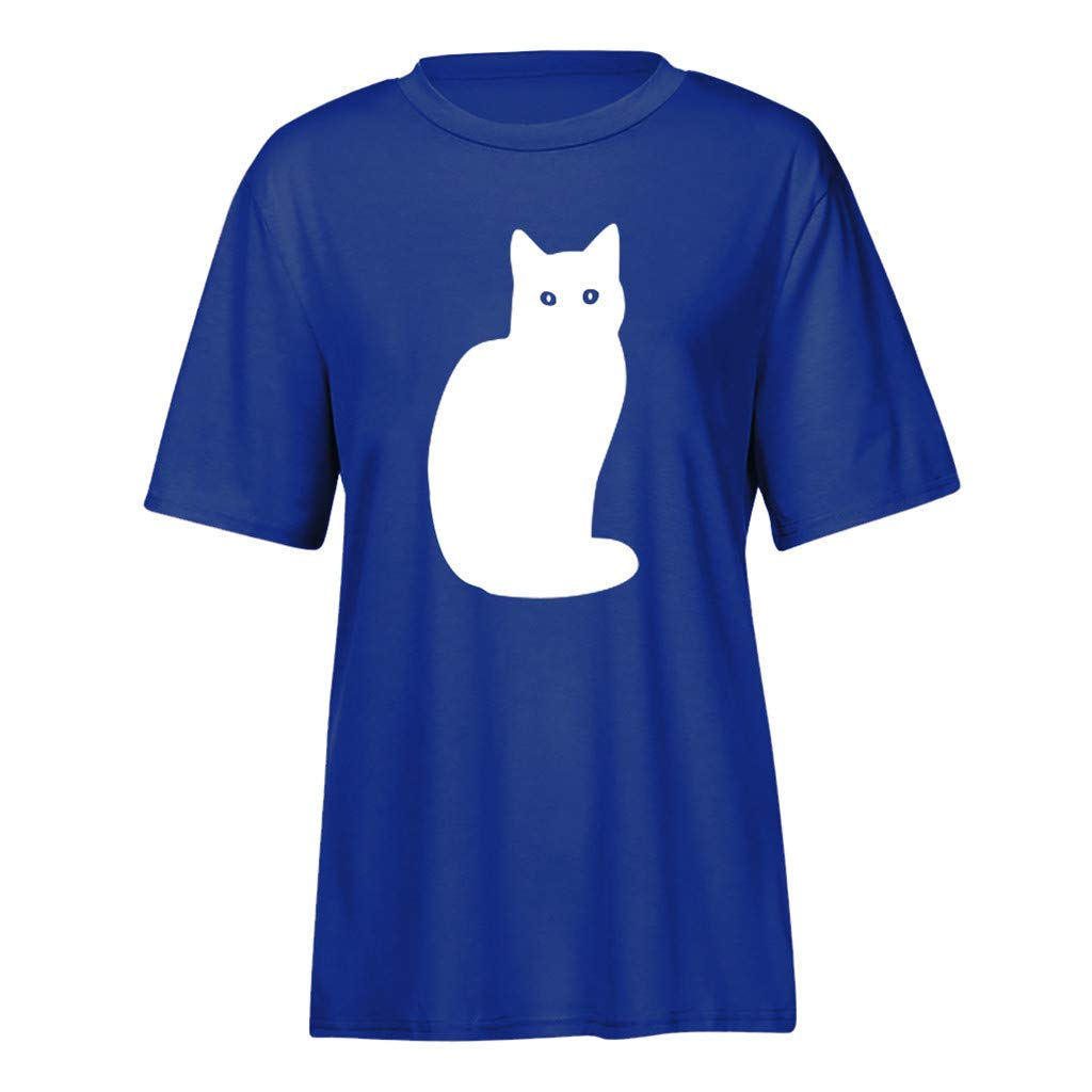 Willow S Womens 2019 Fashion Casual Sport Summer Cute Cat Print Short Sleeve Loose T-Shirts Tops Blouse Blue by Willow S (Image #3)